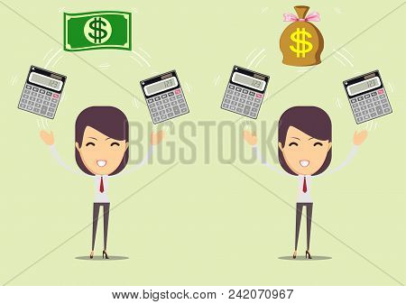 Bookkeeper At Work. Female Accountant Or Banker Making Calculations. Savings, Finances And Economy C