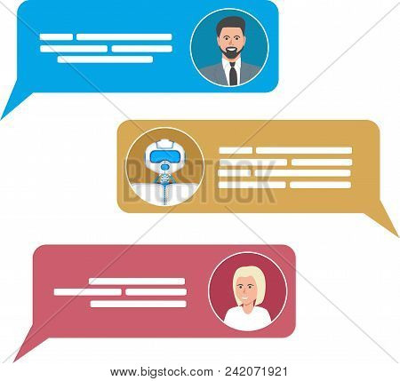 Smart Chatbot For Your Business Concept. Future Internet Marketing. Trendy Chatbot Application With