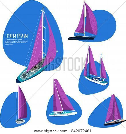 Yacht Club Stickers With Sail Boat. Sporty Ships With Purple Sails. Luxury Yacht Race, Sea Sailing R