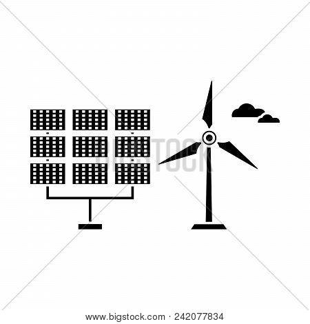 Renewable Energy Black Icon, Vector Illustration. Renewable Energy  Concept Sign.