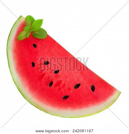 Isolated Watermelon. Sliced Half Of  Watermelon With Mint Leaf   Isolated On A White Background, Clo