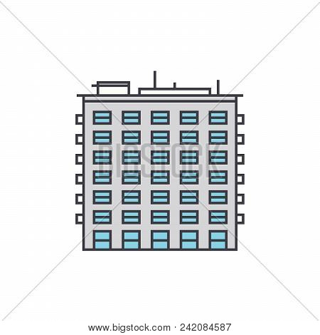 Multi Storey Building Line Icon, Vector Illustration. Multi Storey Building Flat Concept Sign.