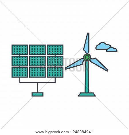 Renewable Energy Line Icon, Vector Illustration. Renewable Energy Flat Concept Sign.