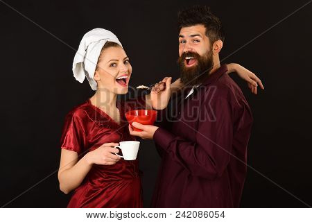Couple. Loving Couple Having Breakfast Smiling At Each Other. Concept Of Love, Home, Food, Lifestyle