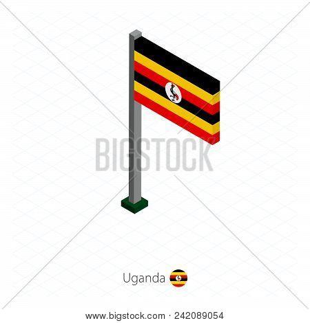 Uganda Flag on Flagpole in Isometric dimension. Isometric blue background. Vector illustration. poster
