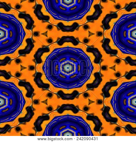 Kaleidoscopic Ornamental Pattern Orange Abstract Background Tile