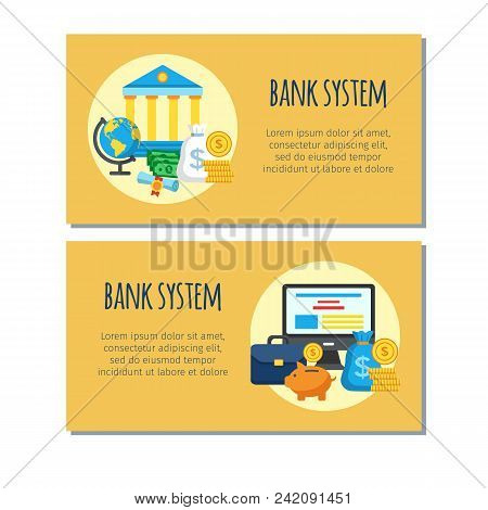 Bank System Design Banners. Bank Account Online Access Protection Consept. Modern Banking Internet E