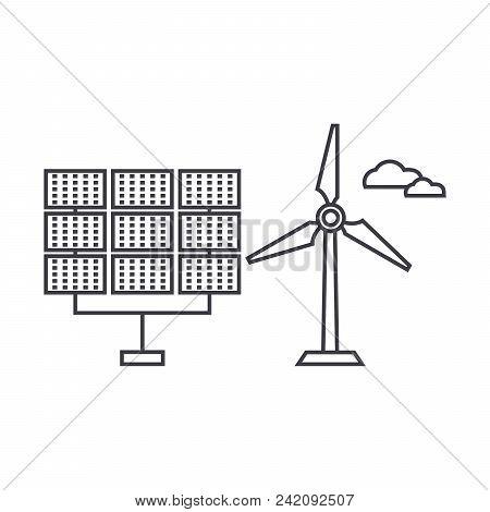 Renewable Energy Thin Line Icon, Vector Illustration. Renewable Energy Linear Concept Sign.