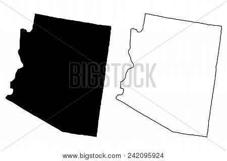 Arizona Map Vector Illustration, Scribble Sketch Arizona Map