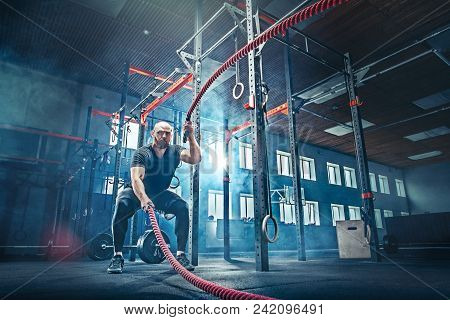 Men With Battle Rope Battle Ropes Exercise In The Fitness Gym. Crossfit Concept. Gym, Sport, Rope, T