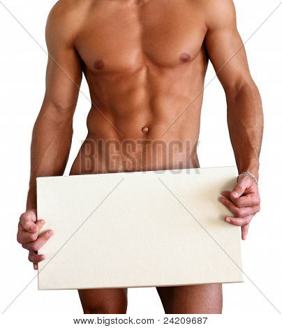 Naked Muscular Man Covering With Box Isolated On White