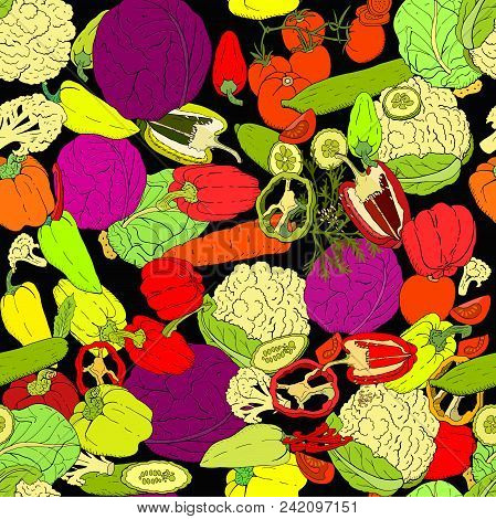 Seamless Pattern With Different Fresh Vegetables. Endless Texture For Your Design