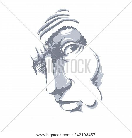 Vector Drawing Of Drunk Man Or Gambler With Wrinkles On His Forehead. Black And White Portrait Of Tr