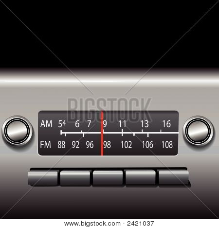 AM FM Car Dashboard Radio: Easily set the red indicator (layer) to change stations. poster