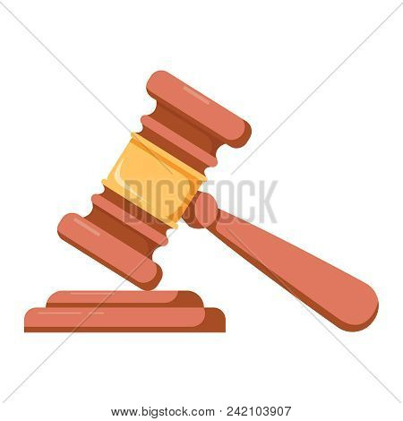 Wooden Judge Ceremonial Hammer Of The Chairman With A Curly Handle, For Adjudication Of Sentences An
