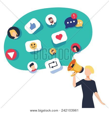 Social Media, Networking And Chatting Texting. Communication With Online Community With Posts, Comme