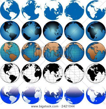 Globe Earth Maps Set 5X5.
