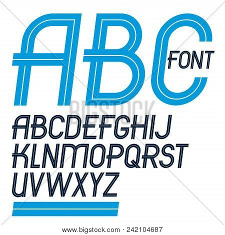 Set Of Vector Delicate Slim Upper Case English Alphabet Letters Made With White Lines, For Use As De