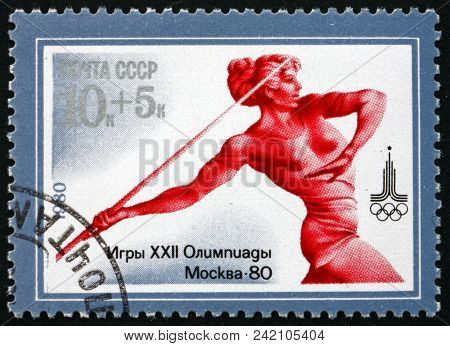 Russia - Circa 1980: A Stamp Printed In Russia Shows Javelin, 22nd Summer Olympic Games, Moscow 80,