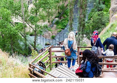 Ihlara Valley, Turkey - May 6, 2018: Tourists Walk To Ihlara Valley In Aksaray Province. Ihlara Vall