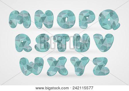 M N O P Q R S T U V W X Y Z Polygonal Geometric Letters. Decorative Blue Geometric Alphabet Isolated