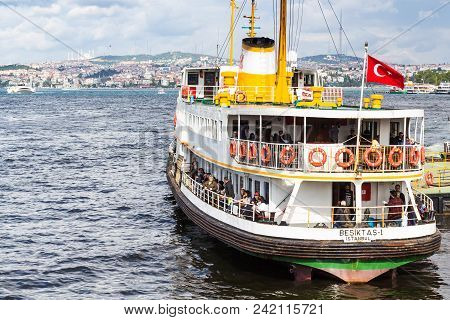 Istanbul, Turkey - May 11, 2018: People In Excursion Boat In Golden Horn Bay In Istanbul City. Istan