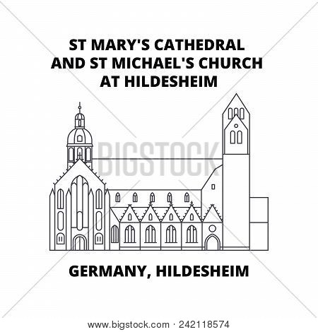 Germany, Hildesheim, St Mary's Cathedral And St Michael's Church At Hildesheim  Line Icon Concept. G