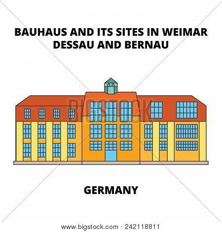 Bauhaus  Dessau unesco   Germany line icon, vector illustration. Bauhaus  Dessau unesco   Germany flat concept sign. poster