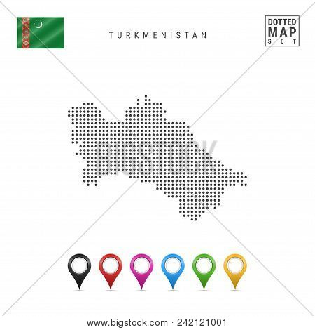 Dotted Map Of Turkmenistan. Simple Silhouette Of Turkmenistan. The National Flag Of Turkmenistan. Se