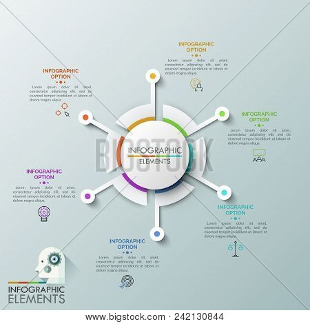 Circular chart with 6 separate sectors surrounded by thin line pictograms and text boxes. Concept of six steps to successful business development. Vector illustration for presentation, brochure. poster