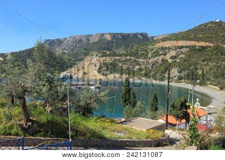 Bay port surrounded by mountains in Sampatiki Greece