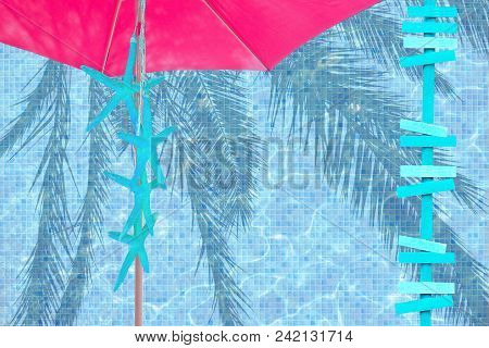 Pink Parasol Turquoise Arrows And Starfish Mood Ad Space Summer Resort Theme Background