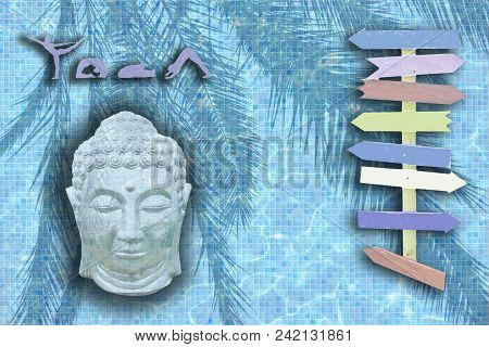 Yoga Background Design With Eight Arrows Copy Space On Palm And Pool Mosaic Texture