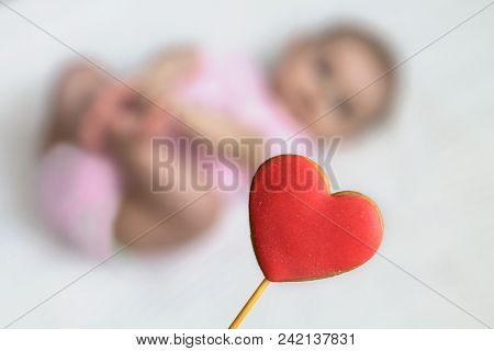 Heart On The Background Of The Child. Copy Space