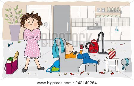 Angry Mother Looking At The Messy Room, Her Son Sitting In The Armchair, Watching Tv Instead Of Clea