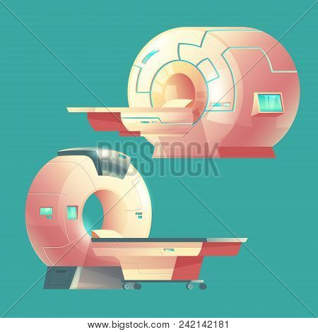 Vector Cartoon Mri Scanner For Tomography, Medical Examination. Machine Of Magnetic Resonance Imagin
