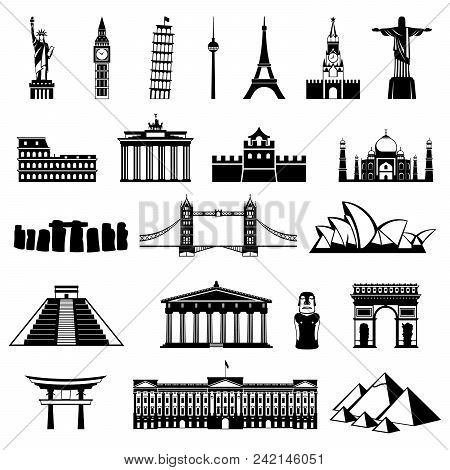 Countries Of The World Vector Logo Design Silhouette. Architecture, Monument Or Landmark Icon.