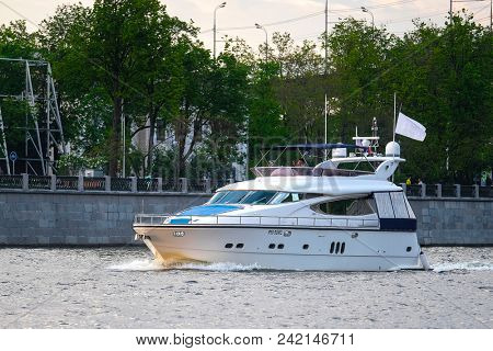 Moscow, Russia - May, 13, 2018: boat floats on the Moscow river