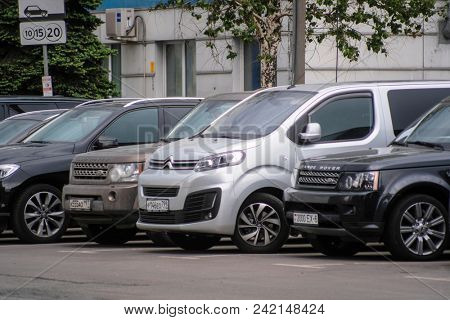 Moscow, Russia - May, 18, 2018: cars on a parking in Moscow