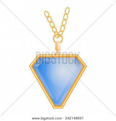 Blue Topaz Pendant Mockup. Realistic Illustration Of Blue Topaz Pendant Vector Mockup For Web Design