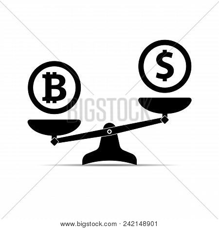 Scales With Two Bowls. On One Side Of The Scale Is Money, On The Second Scale Is Bitcoin. Vector Ill