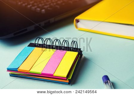 Sticky Stickers On The Table, Desktop, Notes, Plans For The Day, Laptop, School Concept. A Minimalis