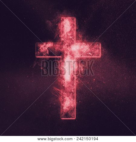 Christian Cross Symbol. Abstract Night Sky Background.
