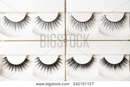 Different Types Of False Eyelashes In Packs, Top View