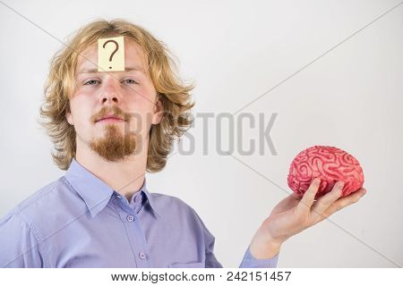 Young Guy Playing With Human Brain Model. Man Discovering Innovation And Thinking Having Question Ma