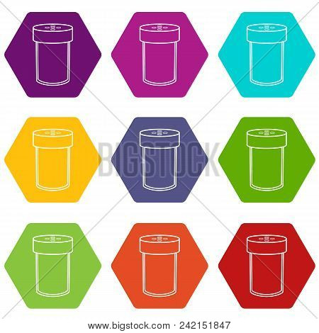 Salt Shaker Icons 9 Set Coloful Isolated On White For Web
