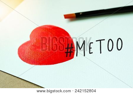 Watercolor Red Heart And Paintbrush With Metoo Hashtag On White Background.  #metoo As A New Movemen