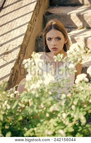 Face Girl For Magazine Cover. Girl Face Portrait In Your Advertisnent. Young Girl Pose At Blossoming