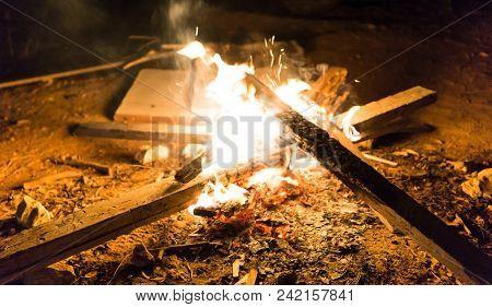 Bonfire In The Dark Night. Kibutz Nachshonim, Israel
