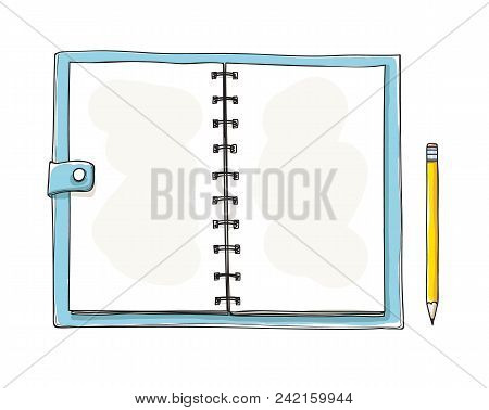 Opened Notebook Hand Drawn. Blank Notepad On White Background. Applicable For Sketches And Signs Pre
